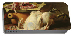 Still Life Of A Chicken And Cutlets Portable Battery Charger by Guillaume Romain Fouace