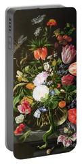 Still Life Of Flowers Portable Battery Charger by Jan Davidsz de Heem