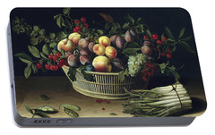 Still Life With A Basket Of Fruit And A Bunch Of Asparagus Portable Battery Charger by Louise Moillon