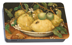 Still Life With A Bowl Of Citrons Portable Battery Charger by Giovanna Garzoni