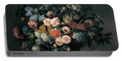 Still Life With Basket Of Flowers Portable Battery Charger by Jean-Baptiste Monnoyer