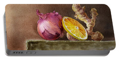 Still Life With Onion Lemon And Ginger Portable Battery Charger by Irina Sztukowski