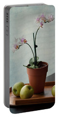 Still Life With Orchids And Green Apples Portable Battery Charger by Maggie Terlecki