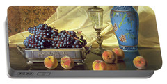 Still Life With Peaches Portable Battery Charger by Edward Chalmers Leavitt