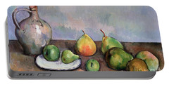 Still Life With Pitcher And Fruit Portable Battery Charger by Paul Cezanne