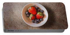 Strawberries And Blueberries Portable Battery Charger by Scott Norris