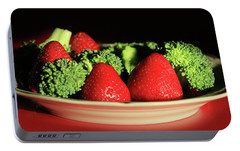 Strawberries And Broccoli Portable Battery Charger by Lori Deiter