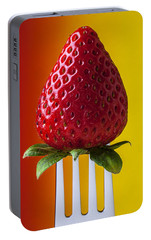 Strawberry On Fork Portable Battery Charger by Garry Gay