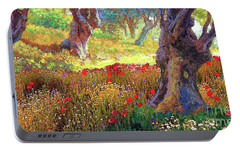 Tranquil Grove Of Poppies And Olive Trees Portable Battery Charger by Jane Small