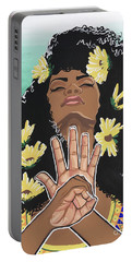 Sunflowers And Dashiki Portable Battery Charger by Alisha Lewis