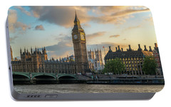 Sunset In London Westminster Portable Battery Charger by James Udall