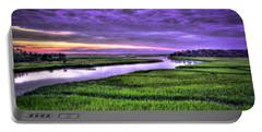 Sunset Over Turners Creek Savannah Tybee Island Ga Portable Battery Charger by Reid Callaway