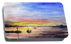 Sunset Watercolor Downtown Kirkland Portable Battery Charger by Olga Shvartsur