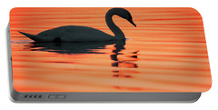 Swan Silhouette Portable Battery Charger by Roeselien Raimond