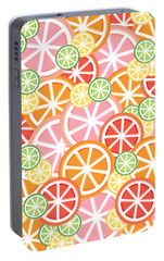 Sweet And Sour Citrus Print Portable Battery Charger by Lauren Amelia Hughes