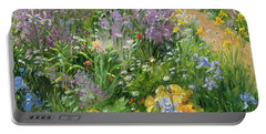 Sweet Rocket - Foxgloves And Irises Portable Battery Charger by Timothy Easton