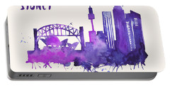 Sydney Skyline Watercolor Poster - Cityscape Painting Artwork Portable Battery Charger by Beautify My Walls