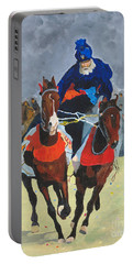 Portable Battery Charger featuring the painting Syncronizing by Rodney Campbell