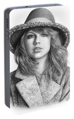 Taylor Swift Portrait Drawing Portable Battery Charger by Shierly Lin