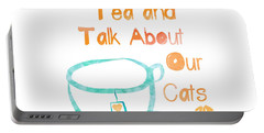 Tea And Cats Square Portable Battery Charger by Linda Woods