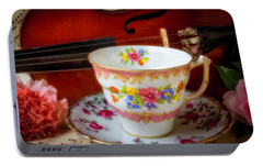 Tea Cup And Violin Portable Battery Charger by Garry Gay