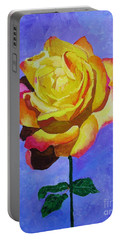 Portable Battery Charger featuring the painting Tea Rose by Rodney Campbell