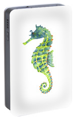 Teal Green Seahorse Portable Battery Charger by Amy Kirkpatrick