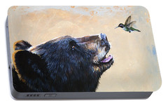 The Bear And The Hummingbird Portable Battery Charger by J W Baker