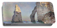 The Cliffs At Etretat Portable Battery Charger by Claude Monet
