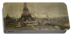 The Construction Of The Eiffel Tower Portable Battery Charger by Paul Louis Delance