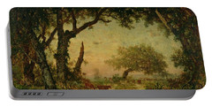 The Edge Of The Forest At Fontainebleau Portable Battery Charger by Theodore Rousseau