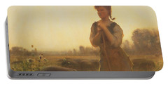 The Farm Girl Portable Battery Charger by Arthur Hacker