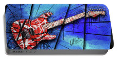 The Frankenstrat On Blue I Portable Battery Charger by Gary Bodnar