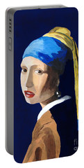 Portable Battery Charger featuring the painting The Girl With A Pearl Earring After Vermeer by Rodney Campbell