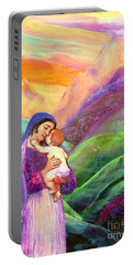 Virgin Mary And Baby Jesus, The Greatest Gift Portable Battery Charger by Jane Small