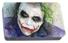 The Joker Watercolor Portable Battery Charger by Olga Shvartsur