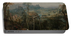 The Magpie On The Gallows Portable Battery Charger by Pieter Bruegel the Elder