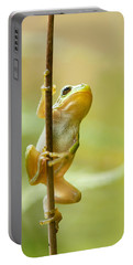 The Pole Dancer - Climbing Tree Frog  Portable Battery Charger by Roeselien Raimond