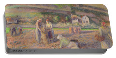 The Potato Harvest Portable Battery Charger by Camille Pissarro