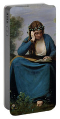 The Reader Crowned With Flowers Portable Battery Charger by Jean Baptiste Camille Corot