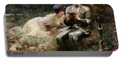 The Temptation Of Sir Percival Portable Battery Charger by Arthur Hacker