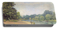 The Thames With Hampton Church Portable Battery Charger by Alfred Sisley