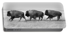 Three Buffalo In Black And White Portable Battery Charger by Todd Klassy