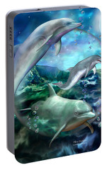 Three Dolphins Portable Battery Charger by Carol Cavalaris