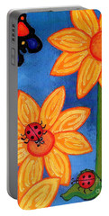 Three Ladybugs And Butterfly Portable Battery Charger by Genevieve Esson
