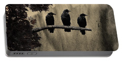 Three Ravens Portable Battery Charger by Gothicolors Donna