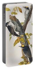 Three Toed Woodpecker Portable Battery Charger by John James Audubon