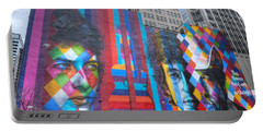 Times They Are A Changing Giant Bob Dylan Mural Minneapolis Cityscape Portable Battery Charger by Wayne Moran