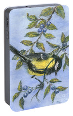 Tit In Blackthorn And Sloe Portable Battery Charger by Nell Hill