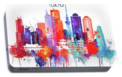 Tokyo Watercolor Portable Battery Charger by Dim Dom